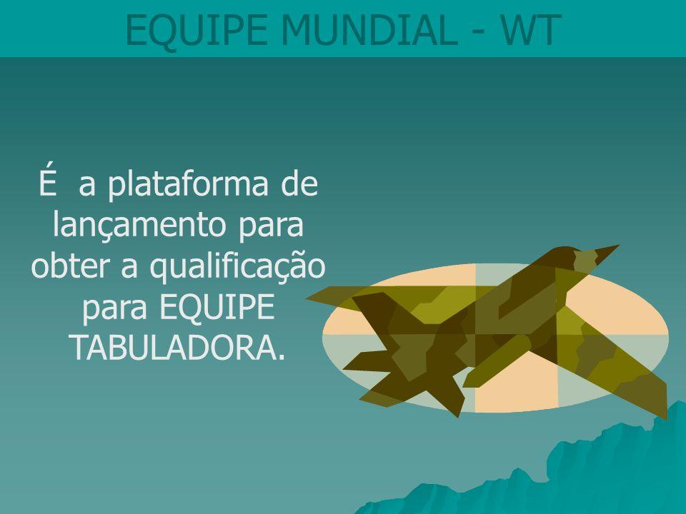 EQUIPE MUNDIAL - WT É a plataforma de lançamento para obter a qualificação para EQUIPE TABULADORA.