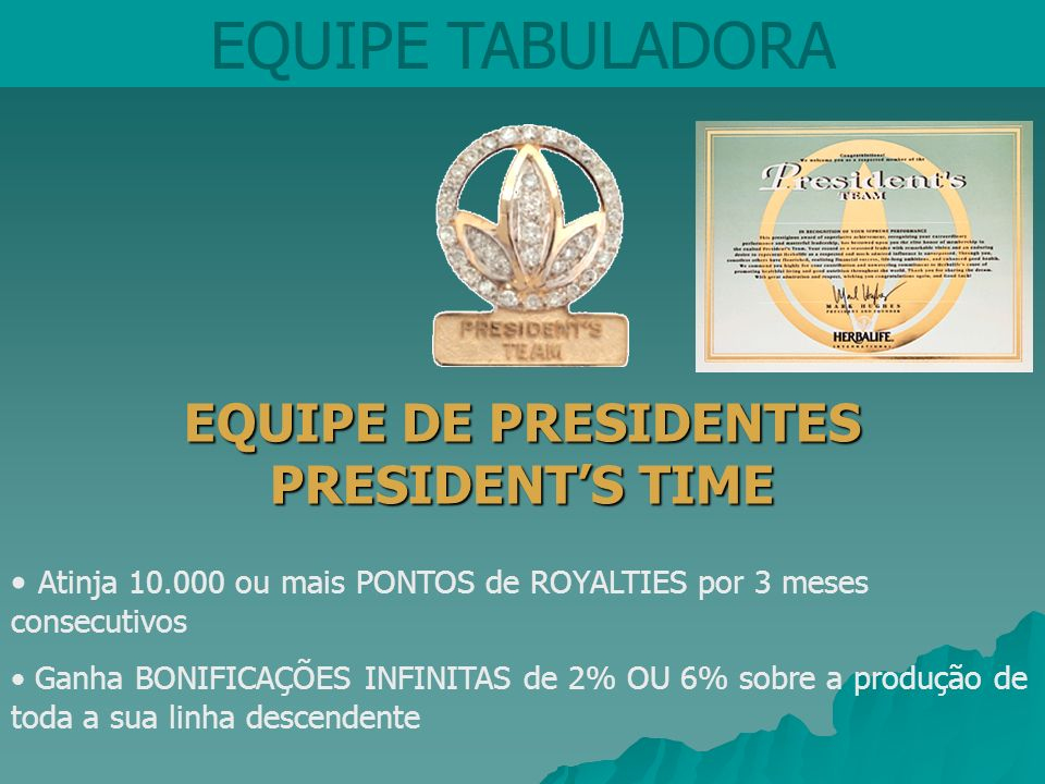 EQUIPE DE PRESIDENTES PRESIDENT'S TIME
