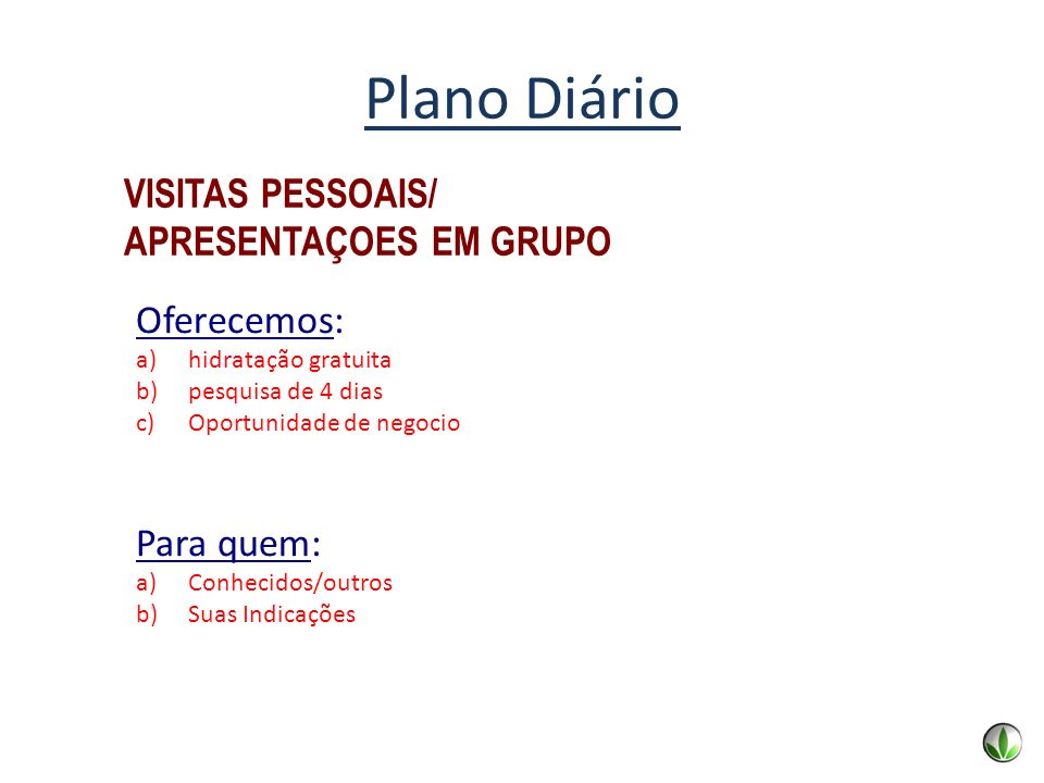 Plano Diário VISITAS PESSOAIS/ APRESENTAÇOES EM GRUPO Oferecemos:
