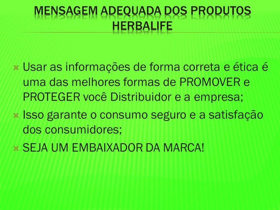 Mensagem adequada dos produtos Herbalife