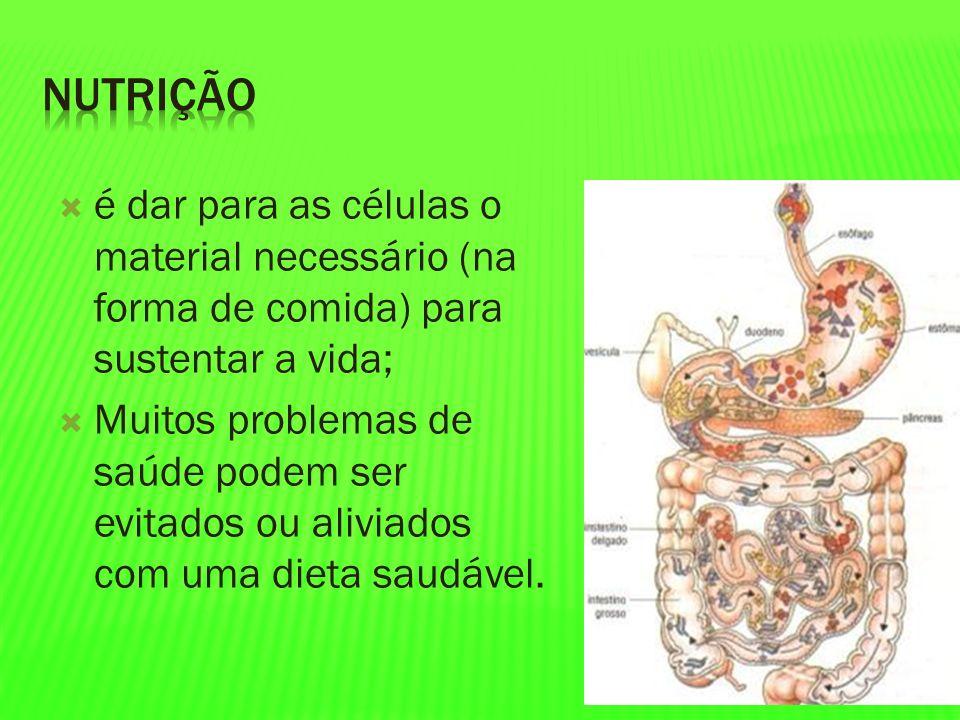 Nutrição é dar para as células o material necessário (na forma de comida) para sustentar a vida;