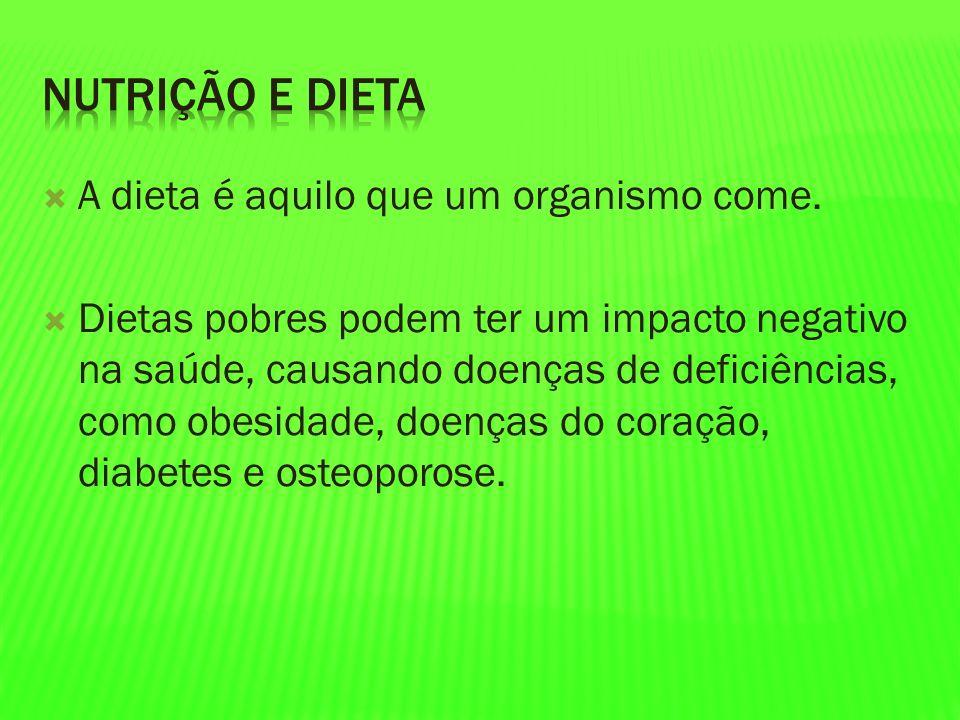 Nutrição e Dieta A dieta é aquilo que um organismo come.
