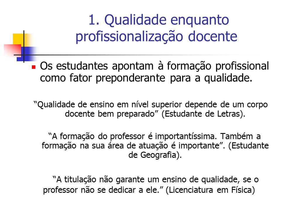 1. Qualidade enquanto profissionalização docente