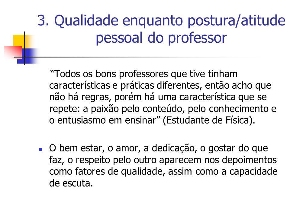 3. Qualidade enquanto postura/atitude pessoal do professor