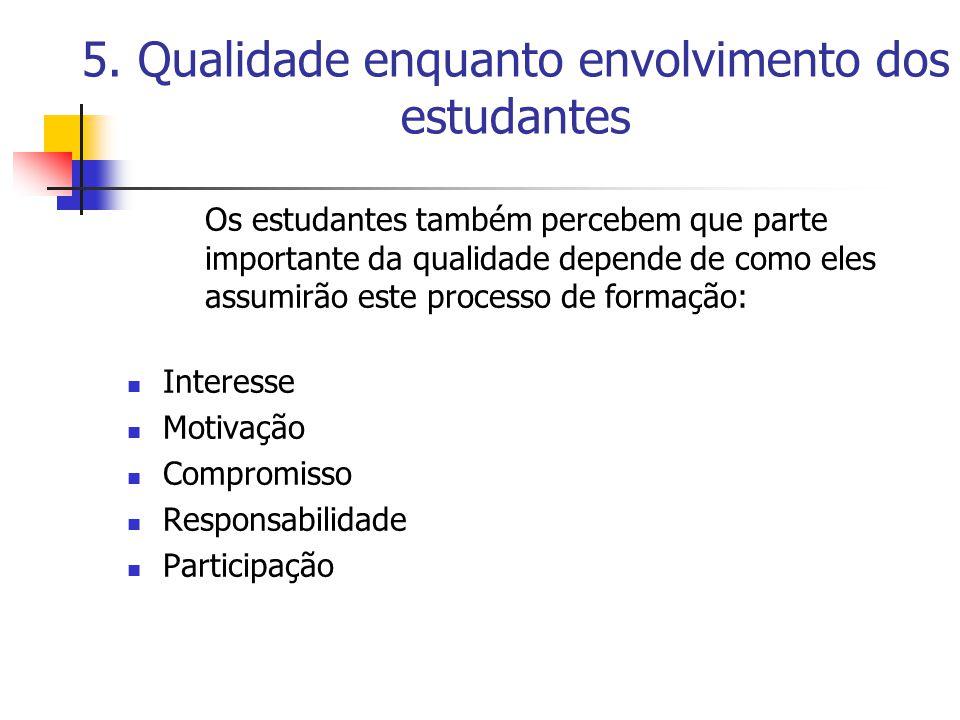 5. Qualidade enquanto envolvimento dos estudantes