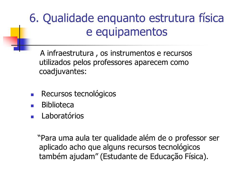 6. Qualidade enquanto estrutura física e equipamentos