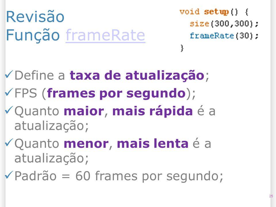 Revisão Função frameRate Define a taxa de atualização;