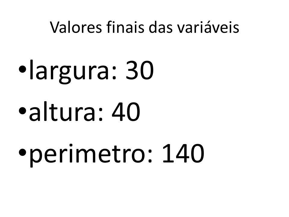 Valores finais das variáveis