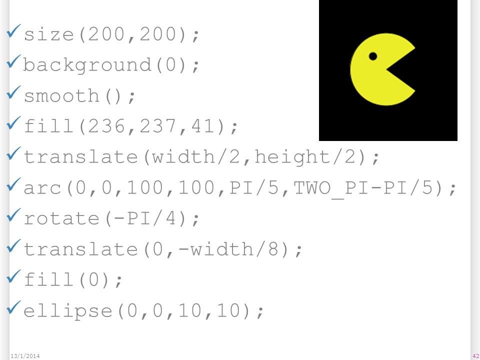 translate(width/2,height/2); arc(0,0,100,100,PI/5,TWO_PI-PI/5);