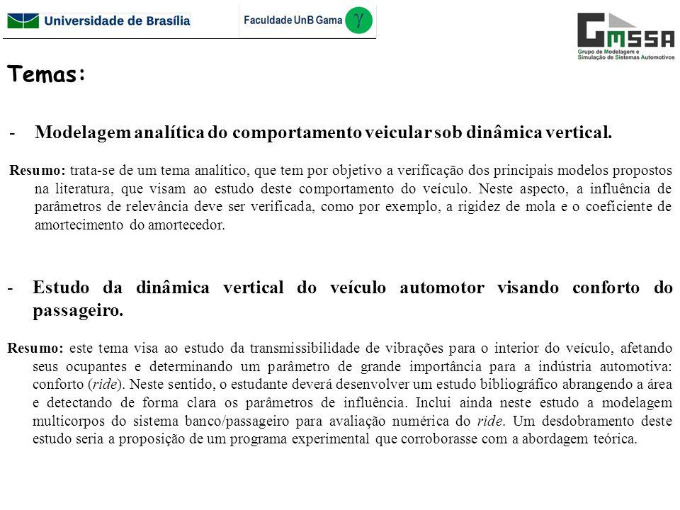 Temas: Modelagem analítica do comportamento veicular sob dinâmica vertical.