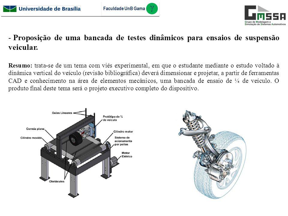 Proposição de uma bancada de testes dinâmicos para ensaios de suspensão veicular.