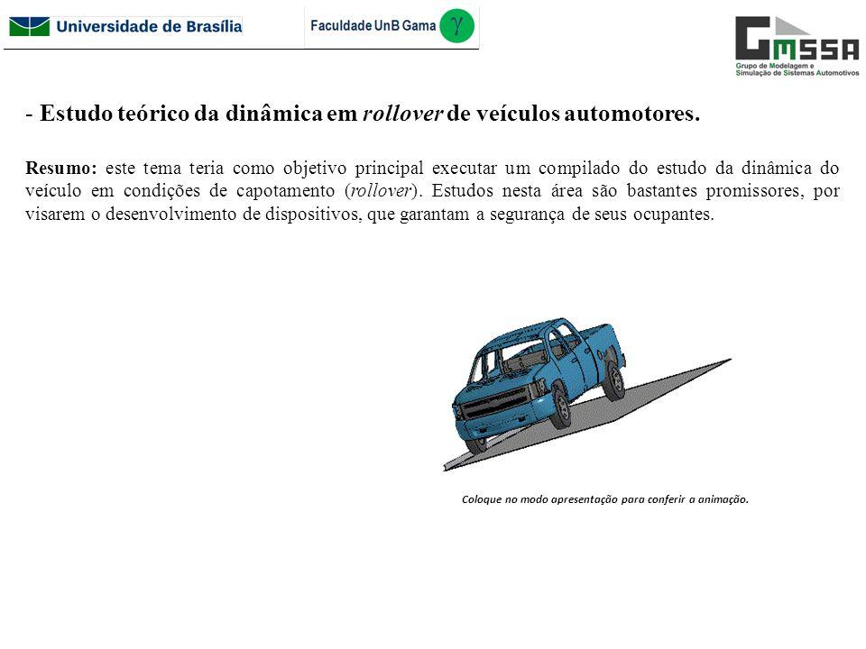 Estudo teórico da dinâmica em rollover de veículos automotores.