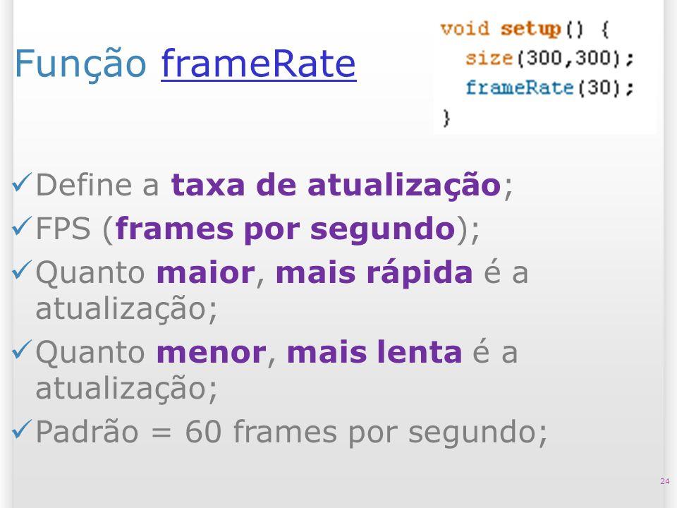 Função frameRate Define a taxa de atualização;
