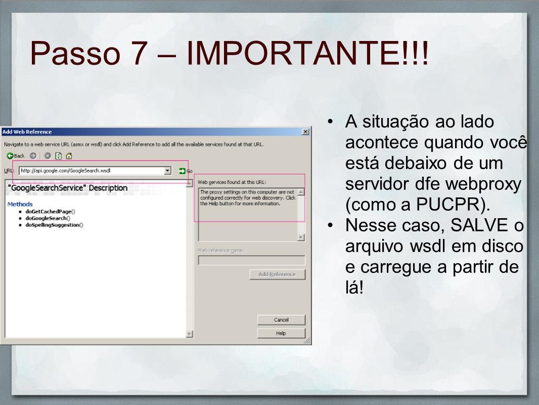 Passo 7 – IMPORTANTE!!!A situação ao lado acontece quando você está debaixo de um servidor dfe webproxy (como a PUCPR).
