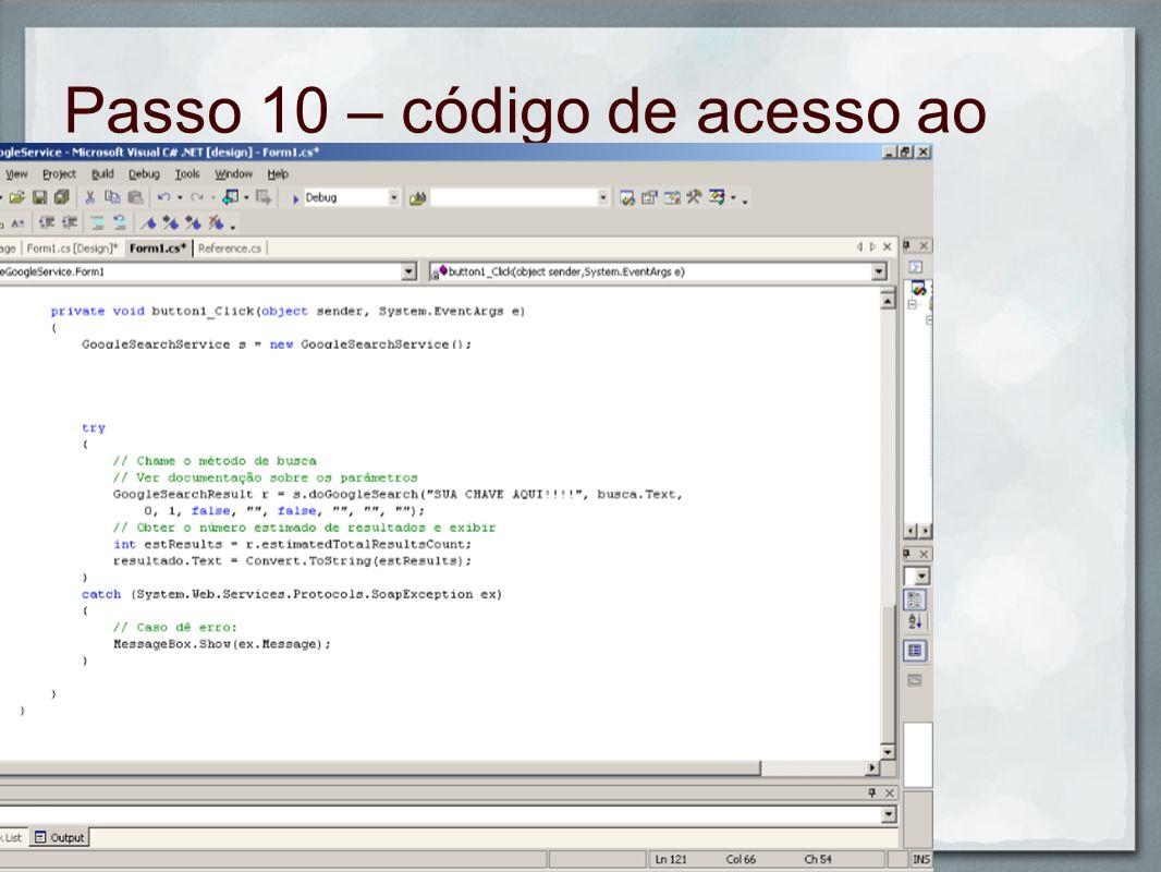 Passo 10 – código de acesso ao Google
