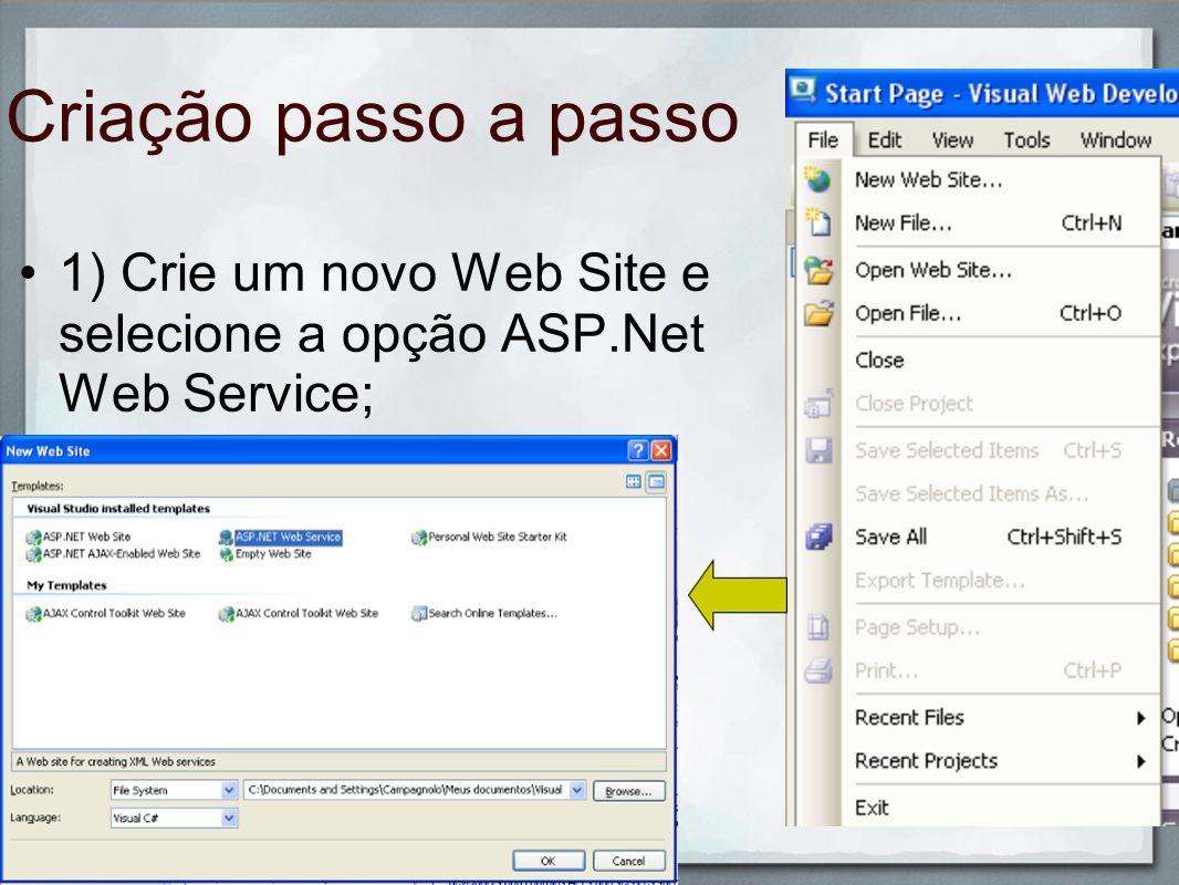 1) Crie um novo Web Site e selecione a opção ASP.Net Web Service;