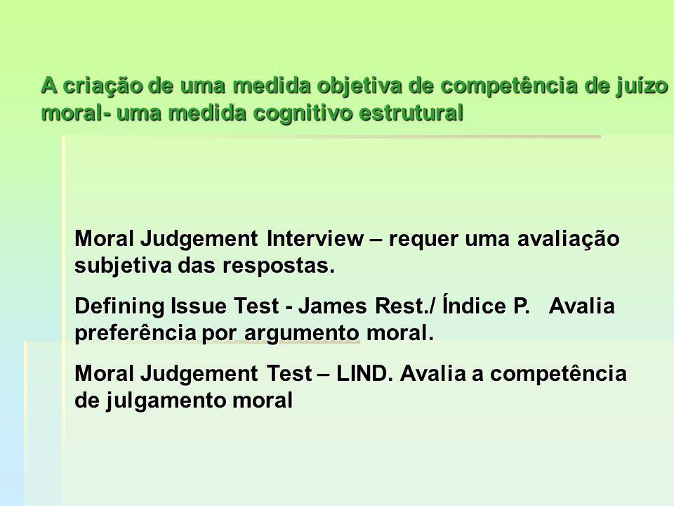 A criação de uma medida objetiva de competência de juízo moral- uma medida cognitivo estrutural