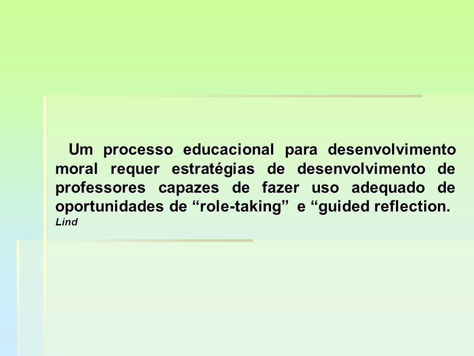 Um processo educacional para desenvolvimento moral requer estratégias de desenvolvimento de professores capazes de fazer uso adequado de oportunidades de role-taking e guided reflection.