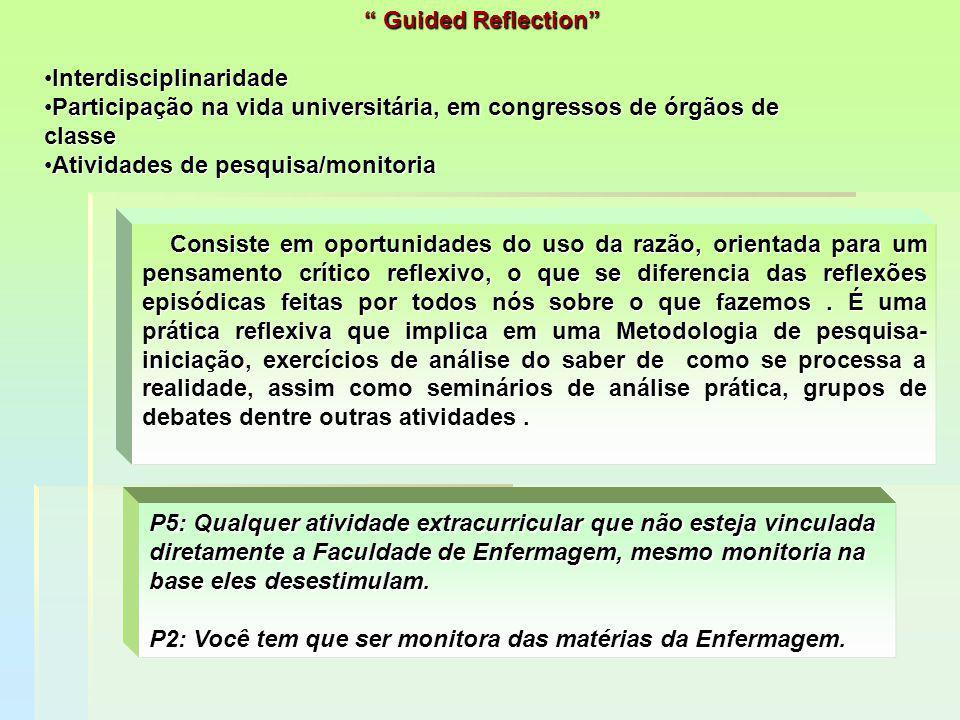 Guided Reflection Interdisciplinaridade. Participação na vida universitária, em congressos de órgãos de classe.