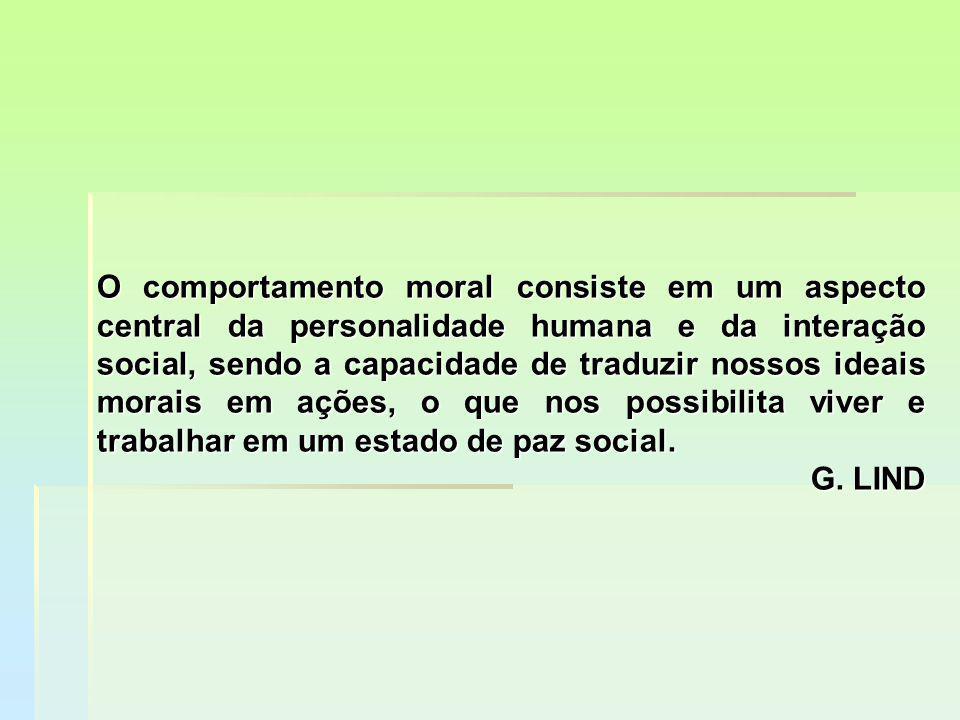 O comportamento moral consiste em um aspecto central da personalidade humana e da interação social, sendo a capacidade de traduzir nossos ideais morais em ações, o que nos possibilita viver e trabalhar em um estado de paz social.