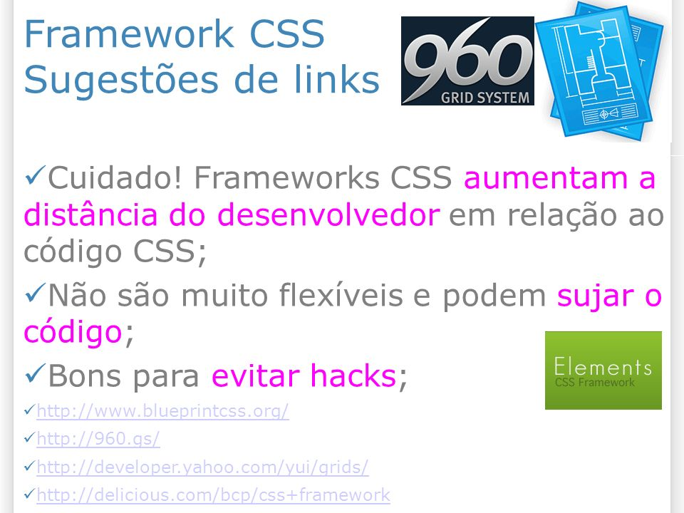 Framework CSS Sugestões de links