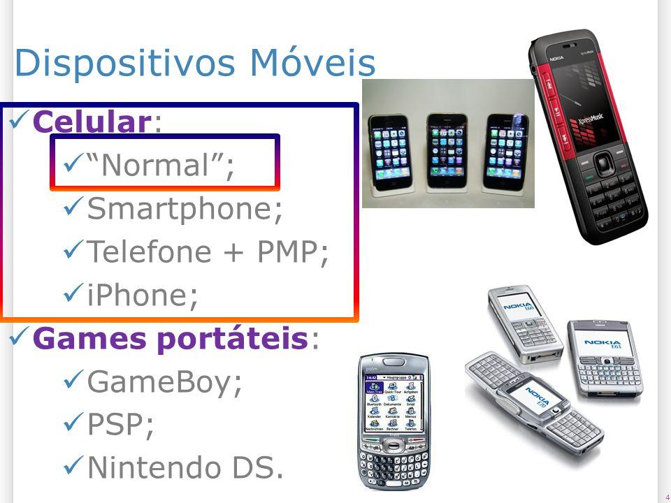 Dispositivos Móveis Celular: Normal ; Smartphone; Telefone + PMP;