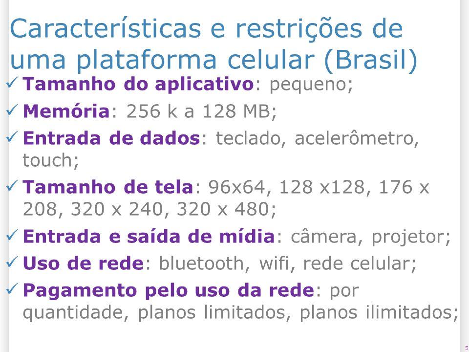 Características e restrições de uma plataforma celular (Brasil)
