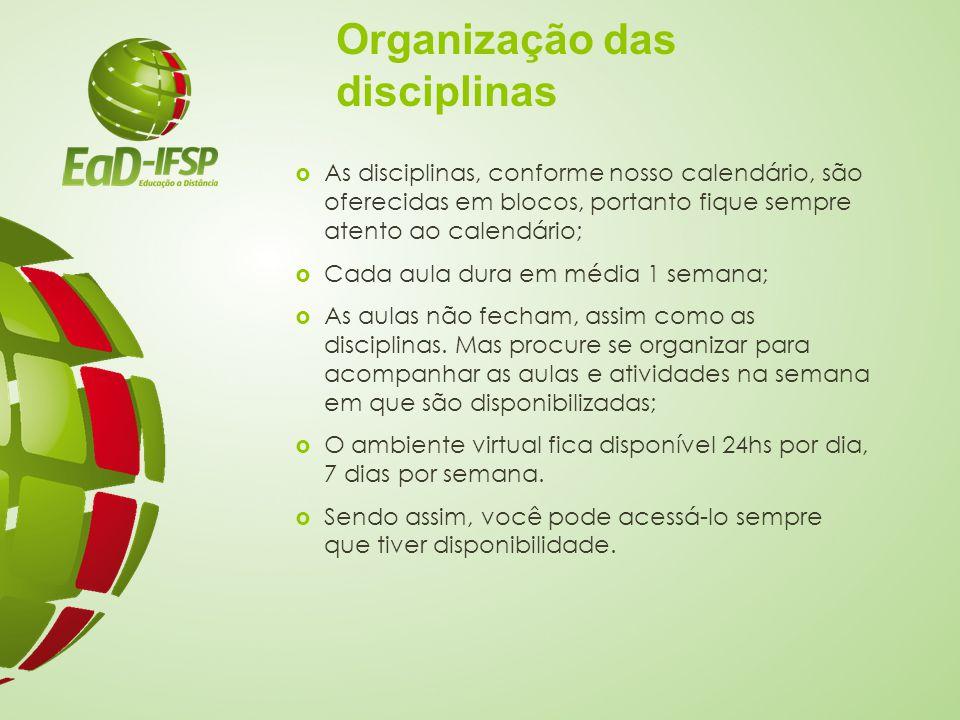 Organização das disciplinas
