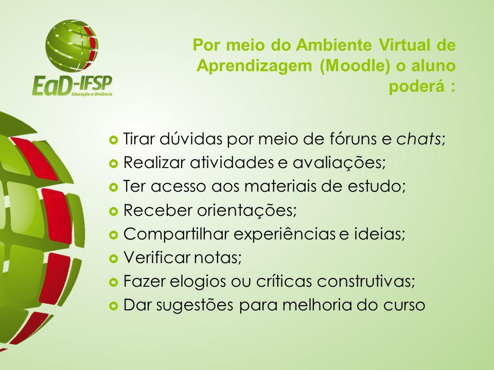 Por meio do Ambiente Virtual de Aprendizagem (Moodle) o aluno poderá :