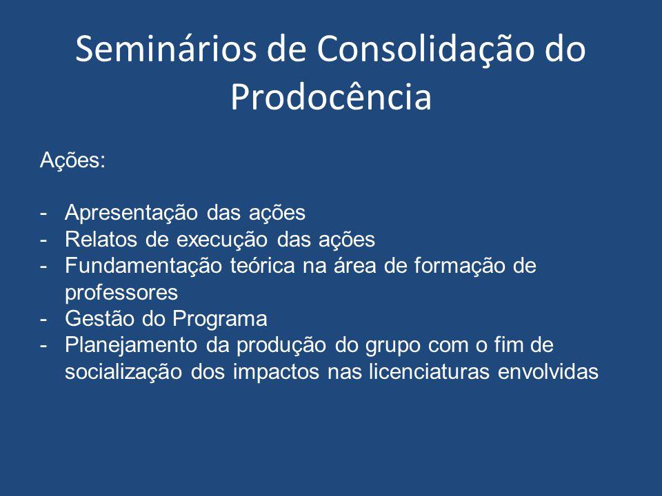 Seminários de Consolidação do Prodocência
