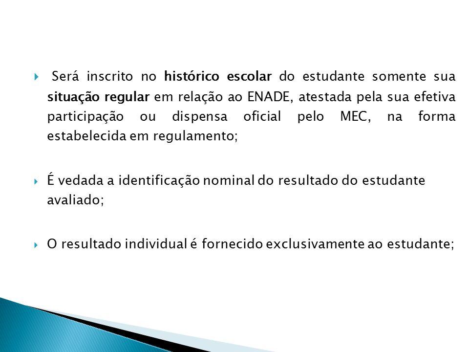 Será inscrito no histórico escolar do estudante somente sua situação regular em relação ao ENADE, atestada pela sua efetiva participação ou dispensa oficial pelo MEC, na forma estabelecida em regulamento;