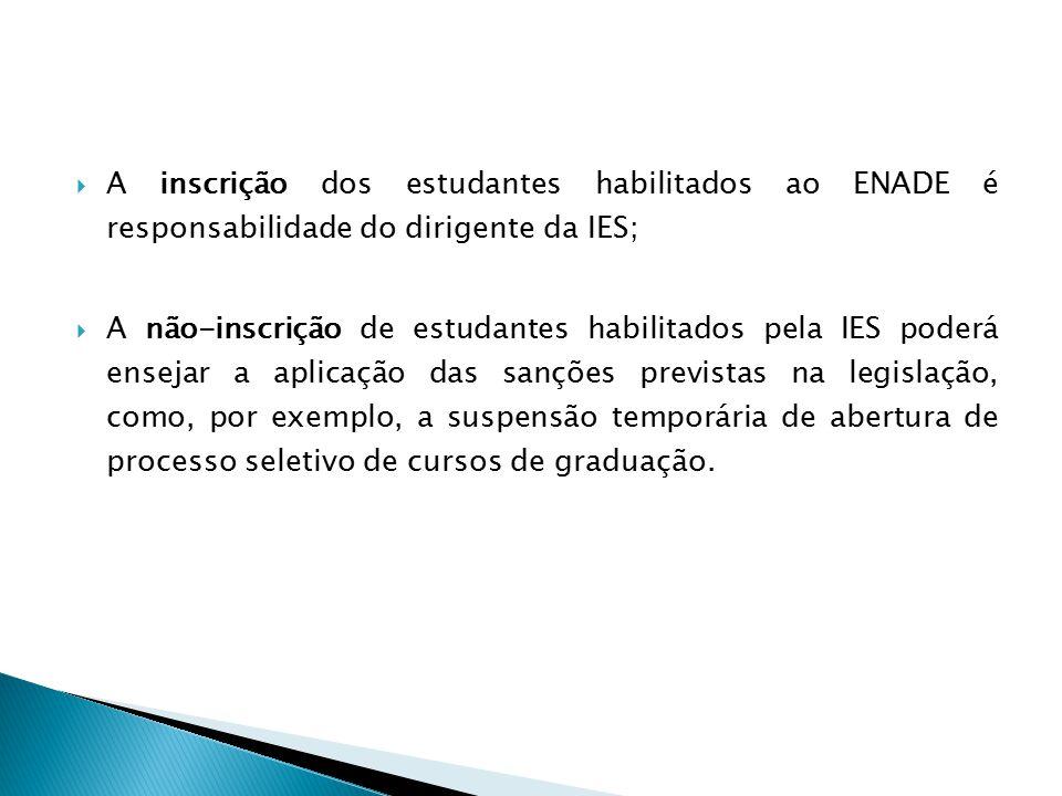 A inscrição dos estudantes habilitados ao ENADE é responsabilidade do dirigente da IES;