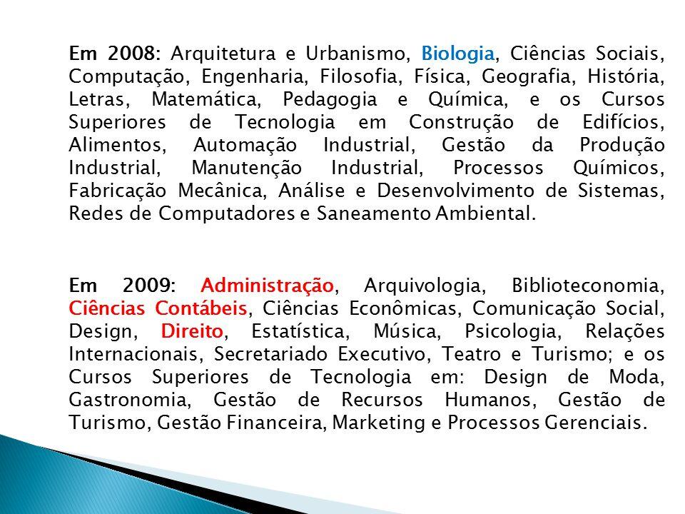 Em 2008: Arquitetura e Urbanismo, Biologia, Ciências Sociais, Computação, Engenharia, Filosofia, Física, Geografia, História, Letras, Matemática, Pedagogia e Química, e os Cursos Superiores de Tecnologia em Construção de Edifícios, Alimentos, Automação Industrial, Gestão da Produção Industrial, Manutenção Industrial, Processos Químicos, Fabricação Mecânica, Análise e Desenvolvimento de Sistemas, Redes de Computadores e Saneamento Ambiental.