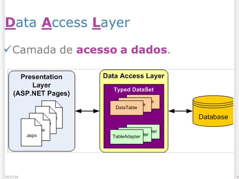 Data Access Layer Camada de acesso a dados. 25/07/09 25/07/09