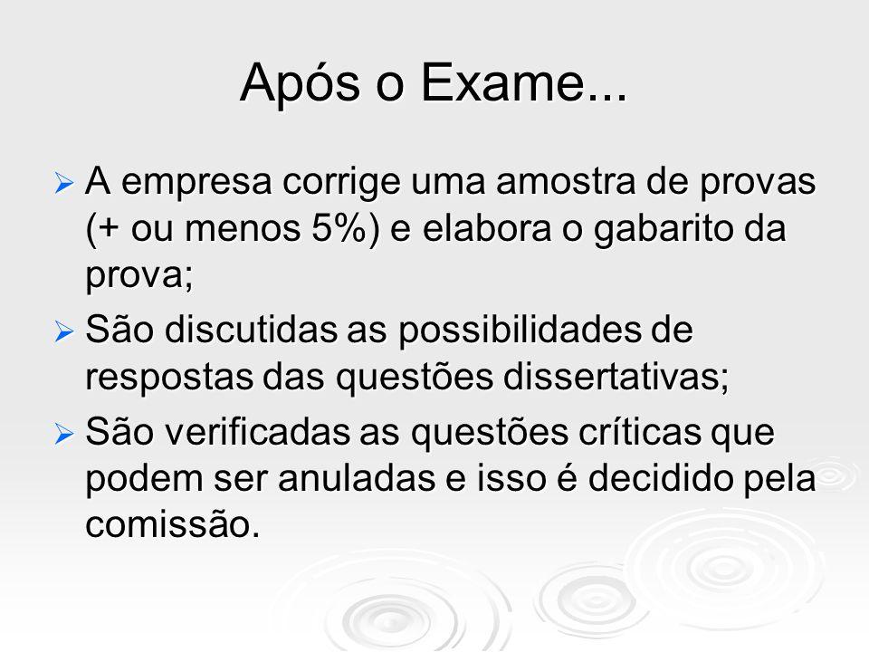 Após o Exame... A empresa corrige uma amostra de provas (+ ou menos 5%) e elabora o gabarito da prova;