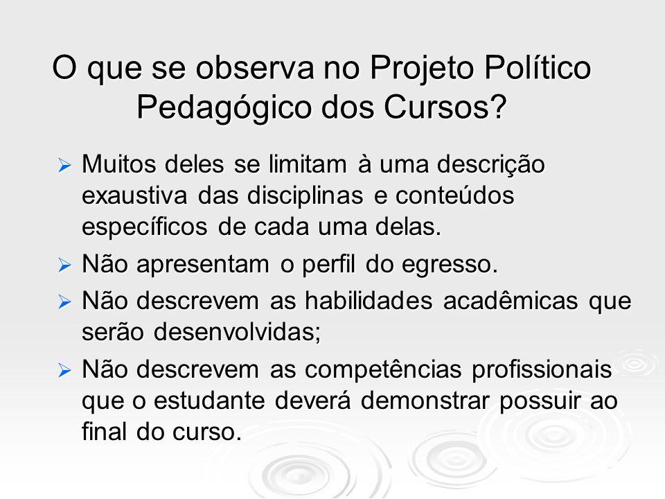 O que se observa no Projeto Político Pedagógico dos Cursos