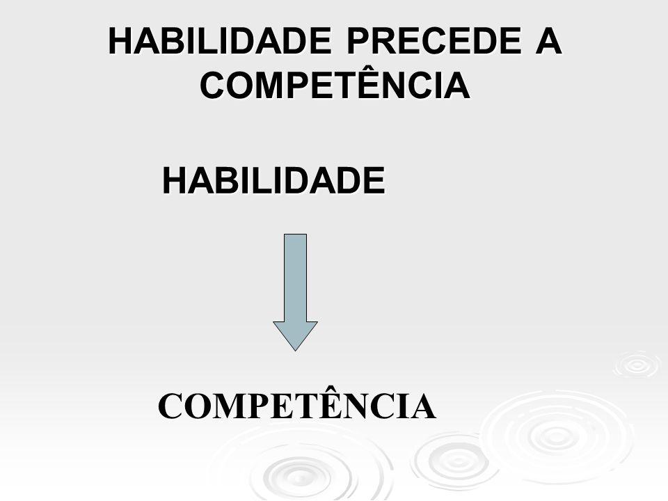 HABILIDADE PRECEDE A COMPETÊNCIA