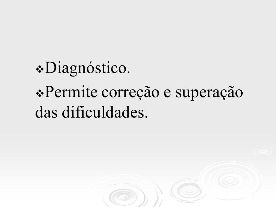 Diagnóstico. Permite correção e superação das dificuldades.