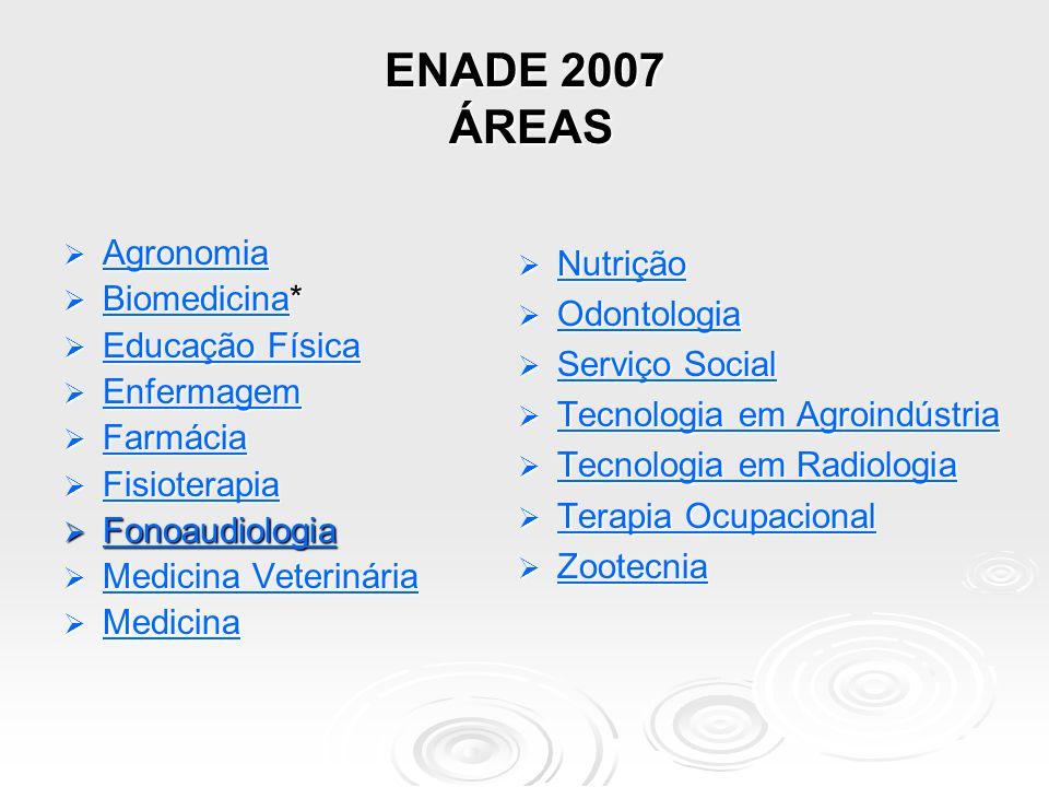 ENADE 2007 ÁREAS Agronomia Biomedicina* Nutrição Educação Física