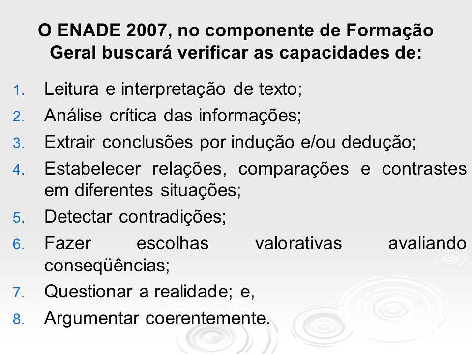 O ENADE 2007, no componente de Formação Geral buscará verificar as capacidades de: