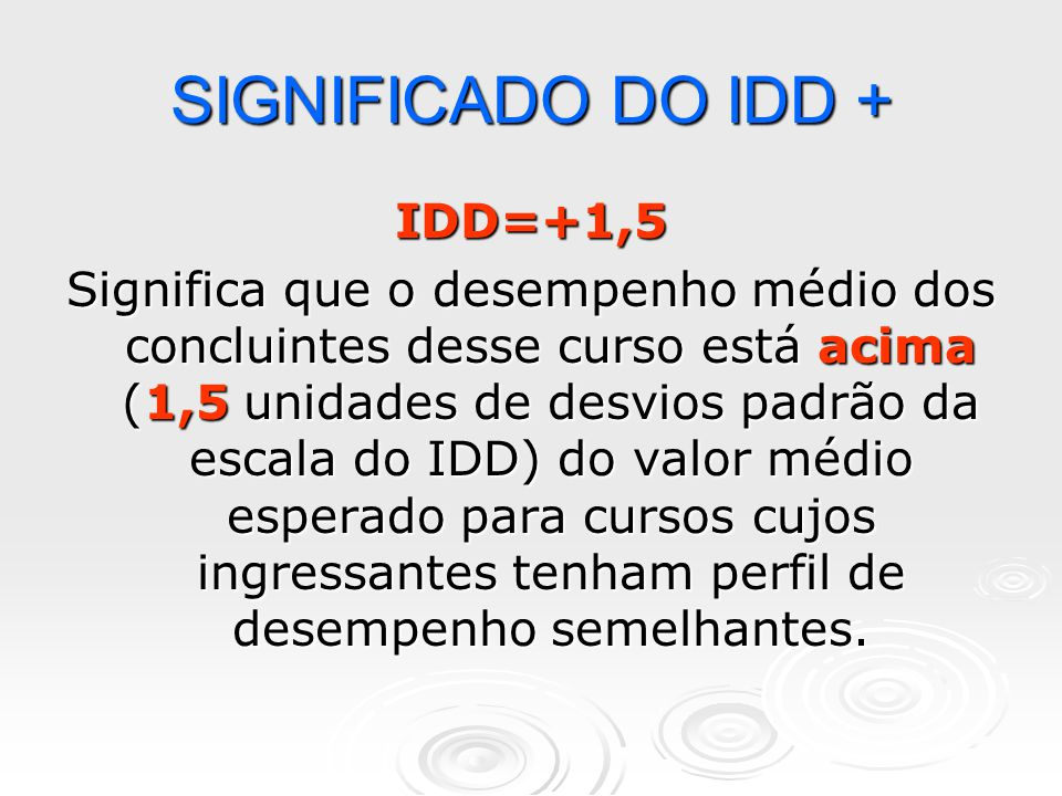 SIGNIFICADO DO IDD + IDD=+1,5