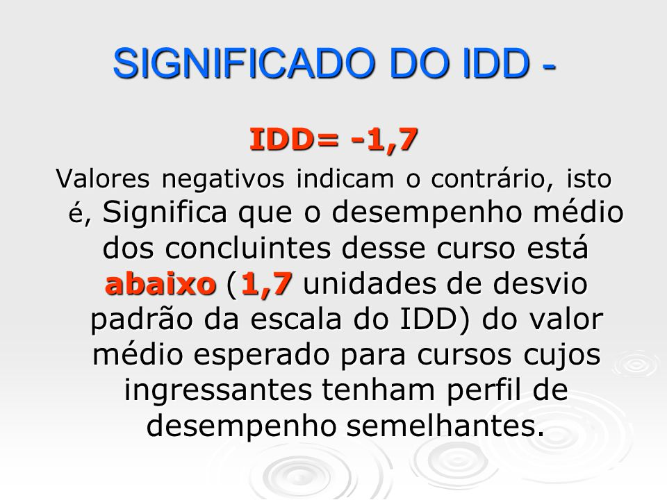 SIGNIFICADO DO IDD - IDD= -1,7
