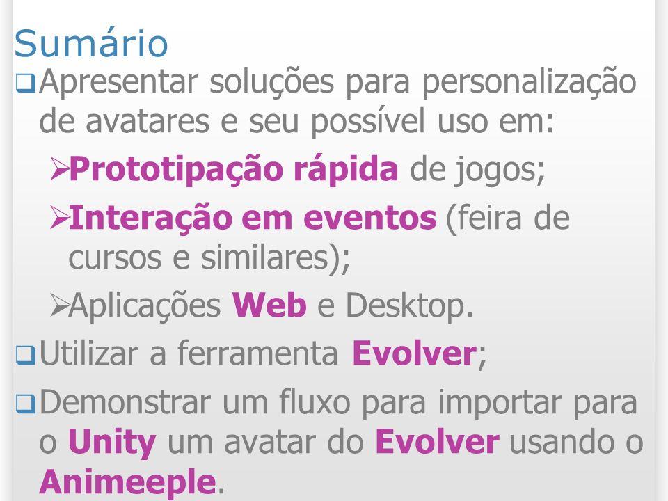 SumárioApresentar soluções para personalização de avatares e seu possível uso em: Prototipação rápida de jogos;