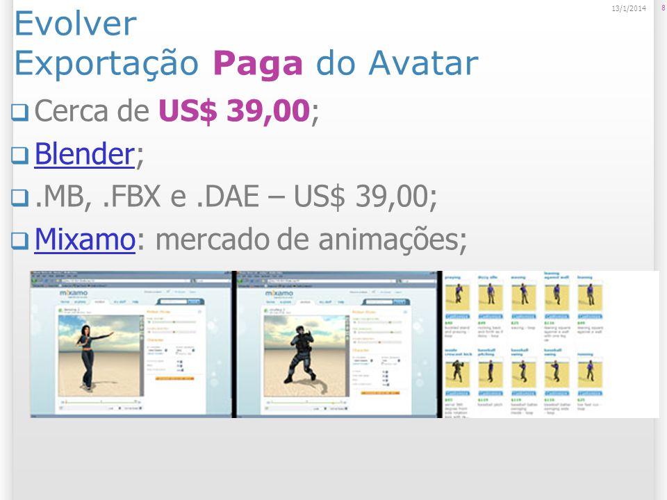 Evolver Exportação Paga do Avatar