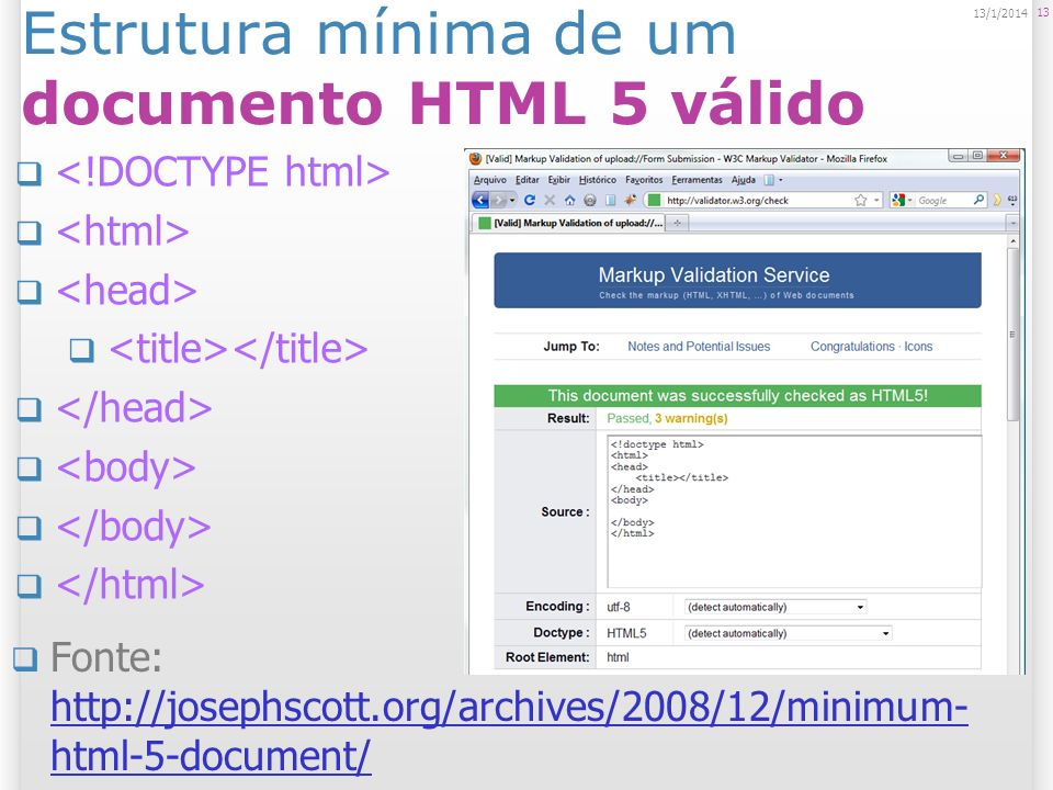 Estrutura mínima de um documento HTML 5 válido