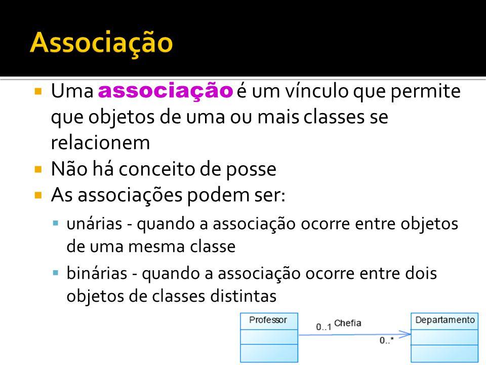 Associação Uma associação é um vínculo que permite que objetos de uma ou mais classes se relacionem.