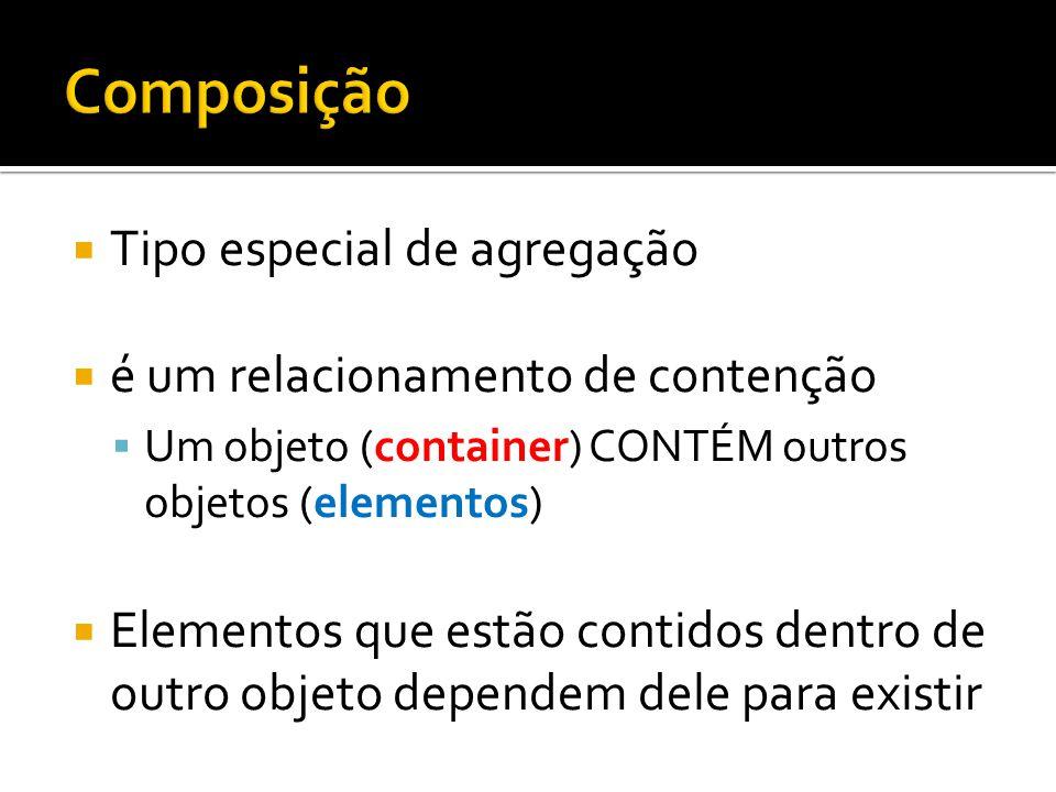 Composição Tipo especial de agregação é um relacionamento de contenção