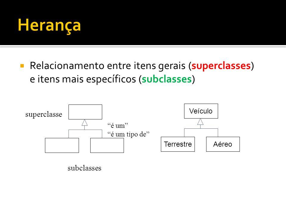 Herança Relacionamento entre itens gerais (superclasses) e itens mais específicos (subclasses) Veículo.