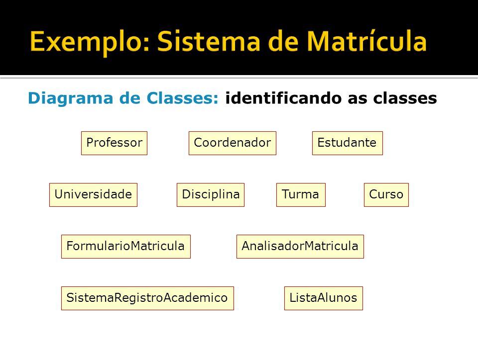 Exemplo: Sistema de Matrícula