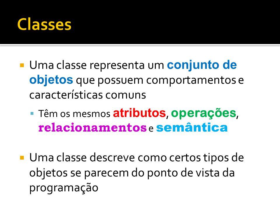 Classes Uma classe representa um conjunto de objetos que possuem comportamentos e características comuns.